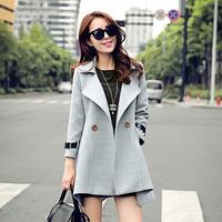 2015秋冬新款韩版时尚中长款不规则修身毛呢外套糖果色女呢子大衣