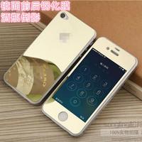 可以当镜子,特别好帖,4s钢化玻璃膜__松羚 苹果4S彩色镜子电镀钢化玻璃膜 iPhone4前后膜镜面4代防爆膜