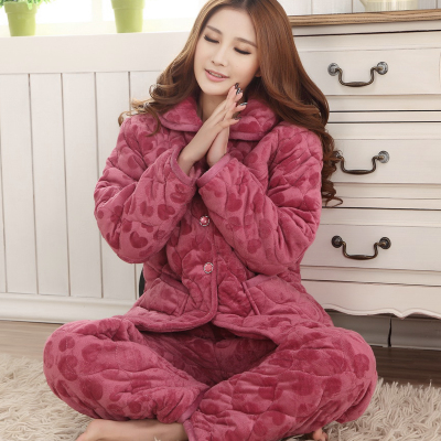 Bucharest thick winter models super soft quilted cotton pajamas winter male couple, Ms. coral velvet long-sleeved jacket tracksuit