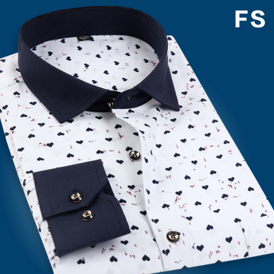 Hot new men's long-sleeved floral shirt Korean Slim casual white shirt of England Fall menswear trend inch