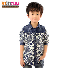Xi an optimal 2014 the new spring clothing children's wear cowboy shirt flower blue shirt blue shirt blue and white porcelain children