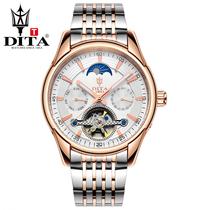 正品迪塔全自动机械表手表男表陀飞轮镂空防水精钢带商务时尚潮流