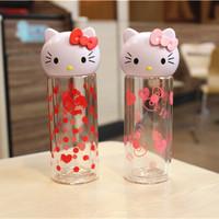 创意hello kitty可爱猫头透明耐热双层玻璃杯卡通水杯子隔热茶杯