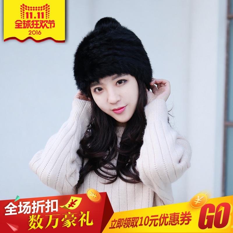 韩版冬天女加厚护耳兔毛帽子皮草包头时尚甜美针织毛线潮秋季厚帽