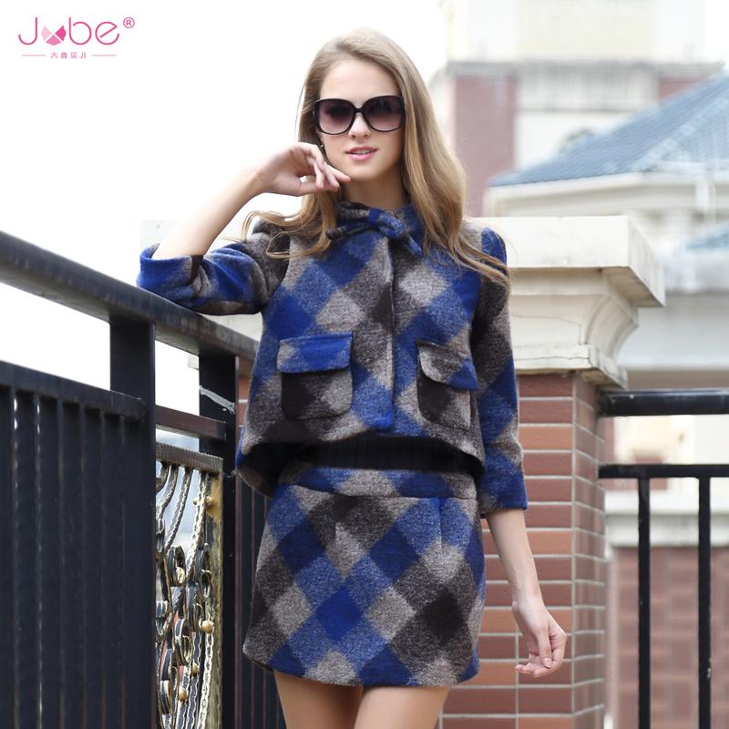 2014秋冬新款欧美毛呢套裙欧洲站气质时尚羊绒套装女式裙子两件套