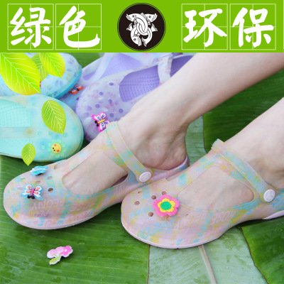 Yun g 2014 new heavy-bottomed muffin sandals women jelly shoes, sandals and slippers Garden printing hole shoes Mary Jane