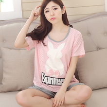 Summer pajamas women with pure cotton short sleeve shorts han edition can wear cartoon young girl summer heavy fat MM code household to take
