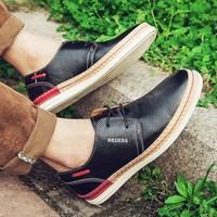 奥康旗下红火鸟男鞋2015新款男士透气休闲皮鞋真皮板鞋潮流鞋子男