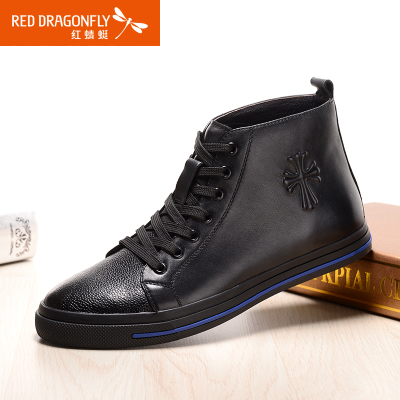 Red Dragonfly new winter 2014 men's high to help everyday casual fashion men's first layer of leather casual shoes