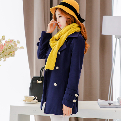 2014 new Korean version of the double-breasted wool long sections woolen coat lapel woolen cape coat female