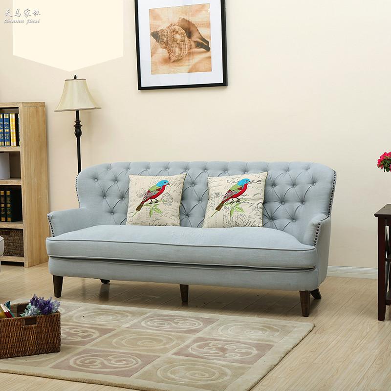美式复古做旧实木组合沙发简约高背拉扣布艺地中海组合沙发可定制