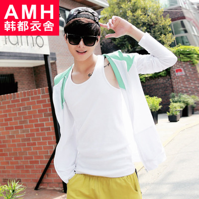 AMH Men's 2015 spring new Korean version of Slim raglan-sleeved T shirt hooded men sunscreen NS2180 Chun