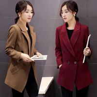 2015新款韩版修身毛呢外套女装秋冬季中长款呢子大衣气质毛呢西装