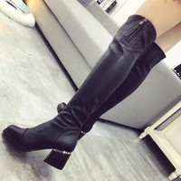正品希姿2015秋冬新款韩版过漆瘦腿长靴弹力高跟粗跟女靴子马丁靴
