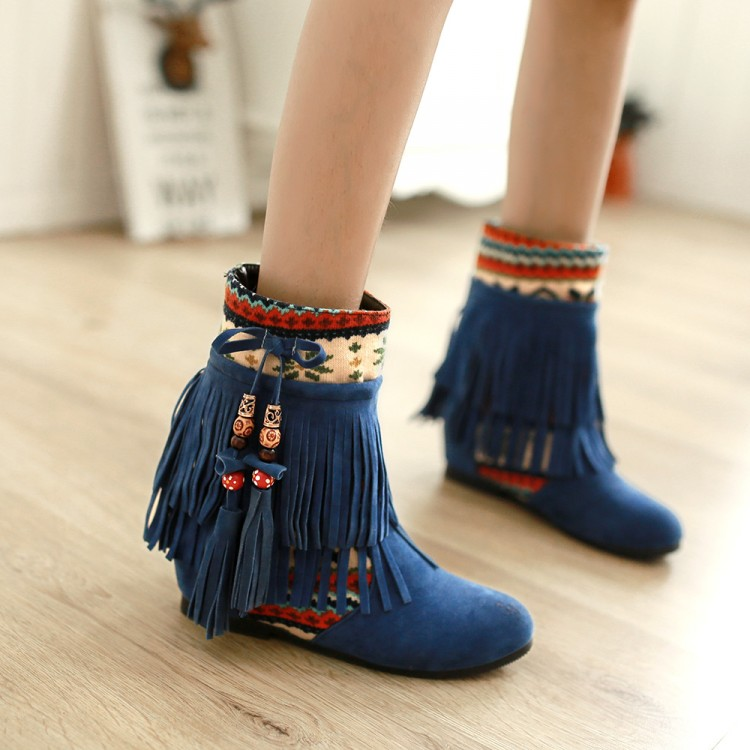 Within the new autumn and winter 2014 fashion shoes increased national wind scrub fringed boots flat boots casual boots