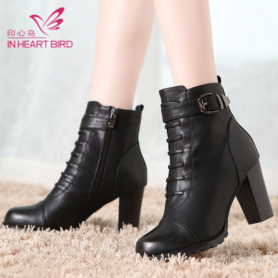 Indian heart birds winter 2014 new women's high-heeled boots boots Martin boots thick with British style shoes winter boots tide