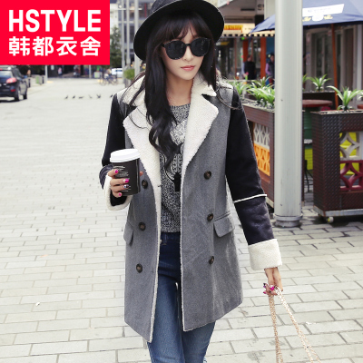 Korean homes have clothes Korean version of the 2014 new women's winter wool coat lapel stitching was thin NF3242 Run