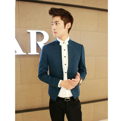 A Baoji fashion men's solid color collar small black suit jacket Men's new winter suit