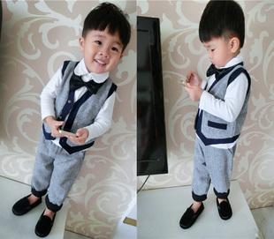 2014欧美儿童秋装马甲背心男宝宝婴幼儿亚麻西装套装周岁拍照服