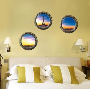 布置温馨铁塔风景立体3d墙贴画客厅电视背景墙纸贴画