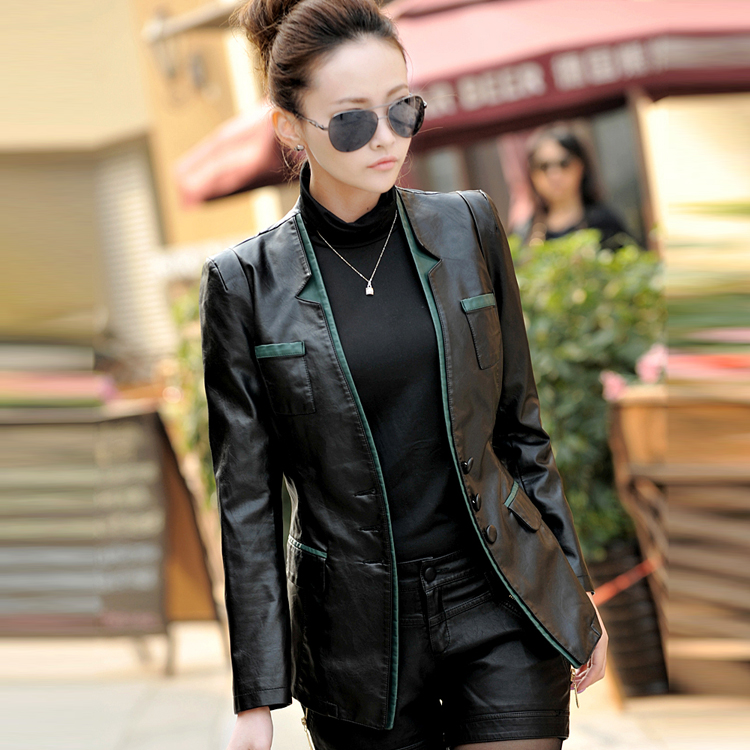 2015 Spring and Autumn big yards Girls Long Haining leather leather sheep leather motorcycle jacket Slim Korean small jacket - T