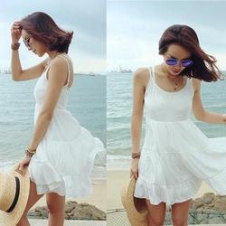 [今日特价] 欧美个性感露背连衣裙 旅游度假吊带裙 海边沙滩裙子女装镂空潮女