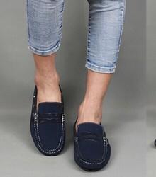 [今日特惠] 深蓝色一脚蹬套脚潮流行休闲潮鞋子真皮鞋反绒翻毛豆豆鞋驾车男鞋