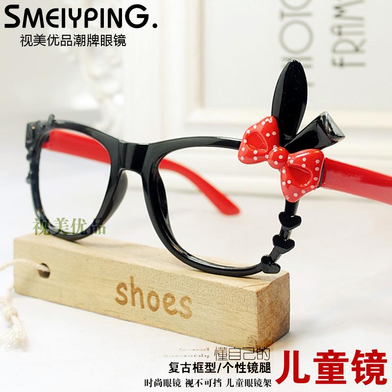 潮儿童眼镜框无镜片黑兔子耳朵卡通眼镜架女童可爱框