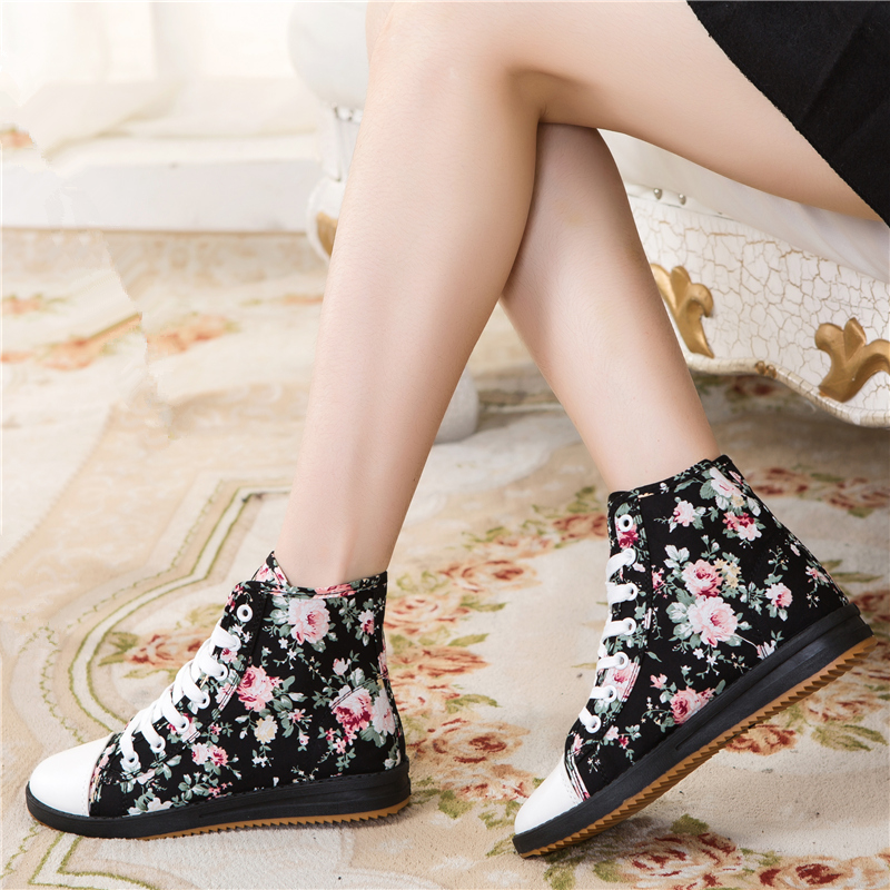 2014 autumn new high-top canvas shoes floral female Korean student influx of casual shoes increased female flat shoes