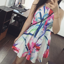TANSSHOP new summer 2015 roses printing multicolor segmentation lines Bowknot is condole belt after dress