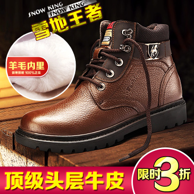 Warren family of new casual men leather boots Ying Lun Mading boots male boots tide men's high-top cotton-padded shoes