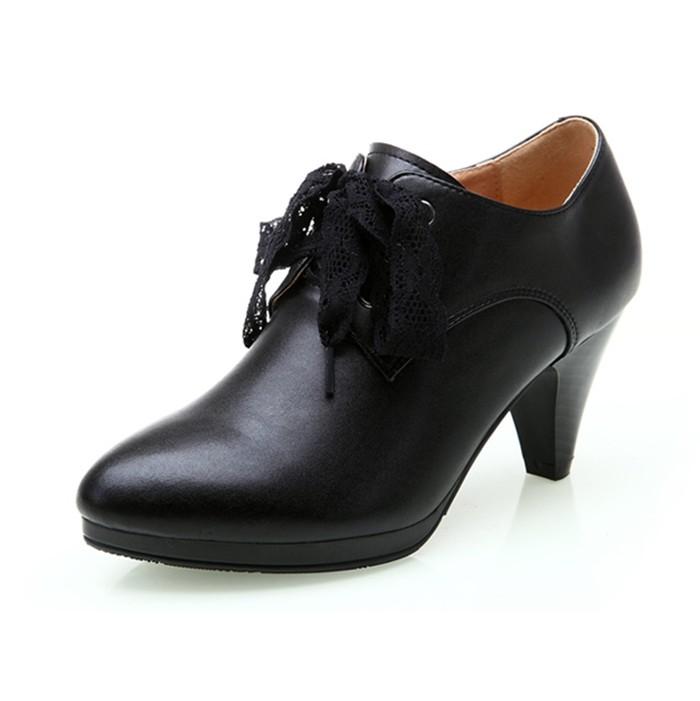 女士正装鞋品牌_新款秋冬真皮工作鞋女黑色职业鞋真皮粗跟高跟皮鞋女正装深口女鞋
