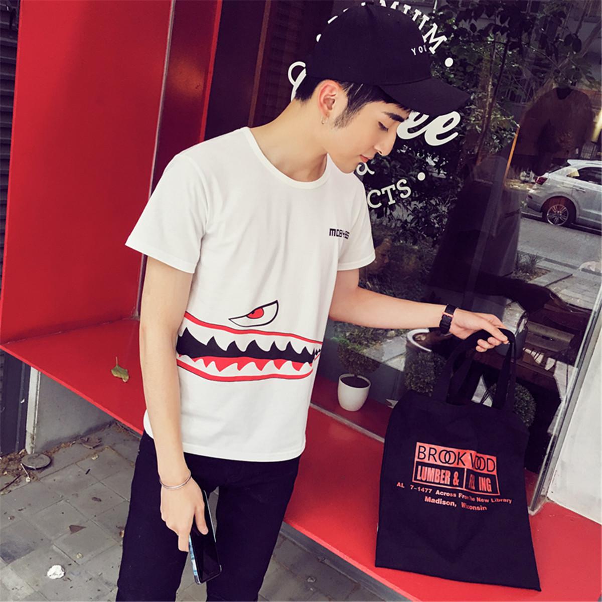 夏季学生潮流男士短袖T恤圆领青少年韩版修身印花男生半袖体恤衫