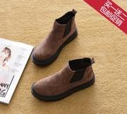 2018冬季平跟短靴马丁靴平底单靴短筒厚底鞋雪地靴踝靴女靴子