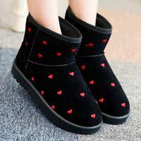 纱绫时尚新款冬厚底防滑加绒保暖短筒雪地靴女短靴棉鞋平跟雪地棉
