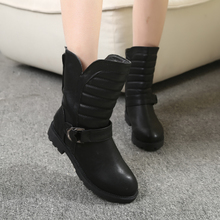 The new winter in Europe and the us side zippers female boots boots in the winter boots shoes winter warm waterproof cotton boots