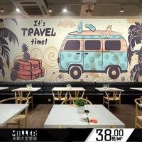个性巴士大型壁画 商场游乐场儿童房墙纸 休闲吧咖啡店餐厅壁纸