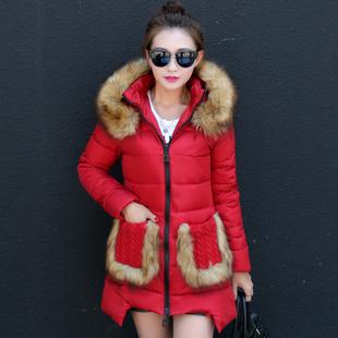 2015新款秋冬装修身显瘦中长款女装棉衣韩版反季棉服大码连帽外套