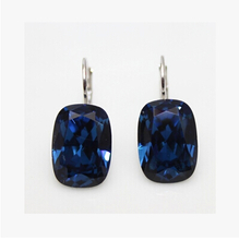 Authentic 925 sterling silver ear clip Austrian crystal buttons square Bella perforation crystal earrings gift bag mail