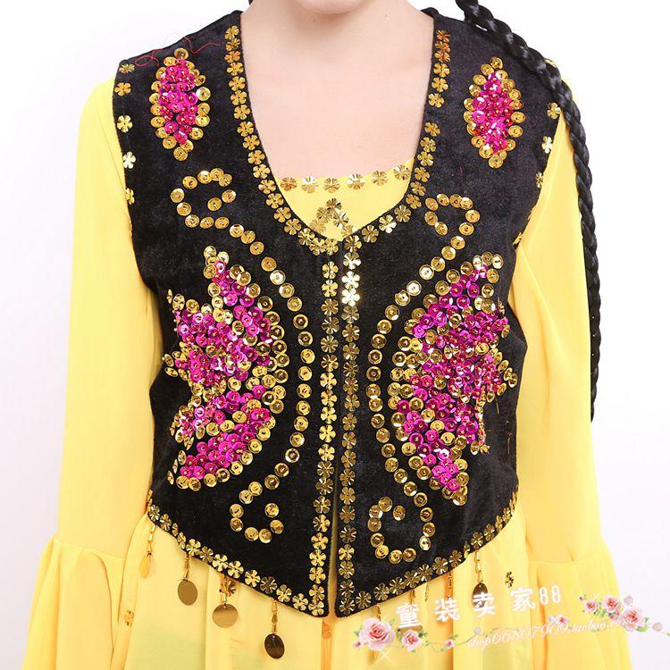 女装舞蹈服装演出服装新疆民族服装维族舞台服装马甲儿童表演裙子