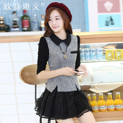 2014 Cotton Flax new Korean Slim lapel long-sleeved big yards short paragraph organza dress fake two-piece women