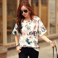2015夏装新品韩版时尚宽松大码女装上衣雪纺印花短袖女体恤潮
