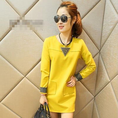 2014 new winter temperament long-sleeved base skirt Korean fashion cultivating long-sleeved woolen dress autumn female