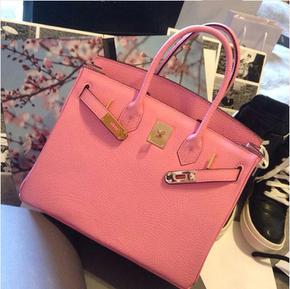 2014新款包包潮欧美大牌款粉色荔枝纹铂金包斜挎单肩包手提包女包
