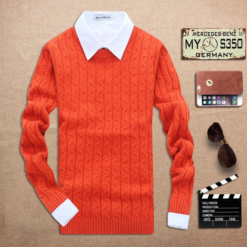 新款2015秋季男士羊绒混纺青年男士休闲纯色套头圆领长袖薄款毛衣