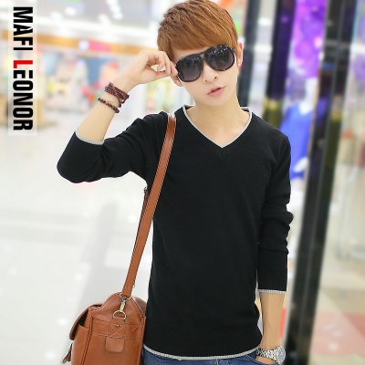 2014 new autumn and winter sweater male teenagers solid backing sweater v-neck sweater Men Korean Slim tide