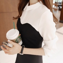 2015 during the spring and autumn winter ruffled hips beauty skirt tail han edition render shirt with long sleeves false two-piece women dress