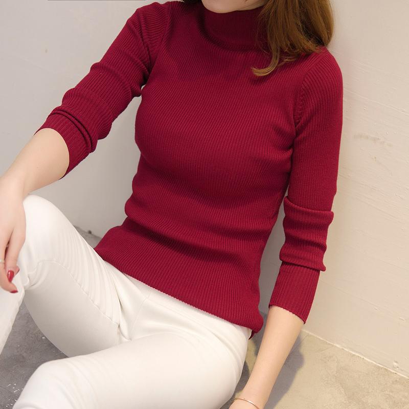 秋冬韩版短款宽松半高领毛衣女打底衫外套长袖套头加厚紧身针织衫