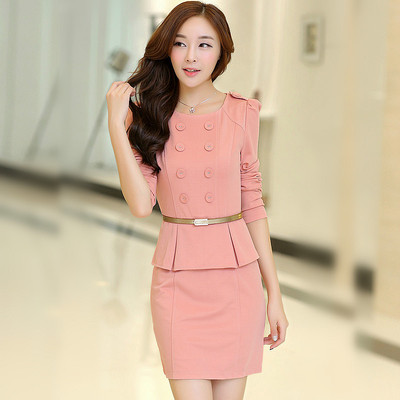Hitz 2014 US winter wool skirt OL large size women's waist thickened base skirt long-sleeved dress in autumn and winter