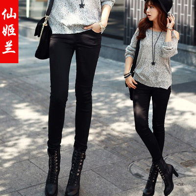 New winter stretch tight pencil pants Korean woman was thin black pants feet thick velvet jeans female